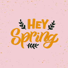 Hand drawn lettering card. The inscription: Hey Spring. Perfect design for greeting cards, posters, T-shirts, banners, print invitations