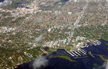 Aerial view of parts of Miami, Florida, USA