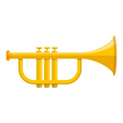 Music trumpet icon. Cartoon of music trumpet vector icon for web design isolated on white background