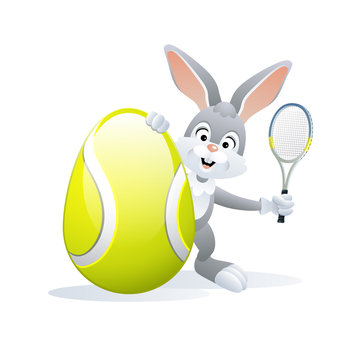 Easter sports greeting card. Cute Rabbit with Tennis Egg and Tennis racket. Vector illustration.