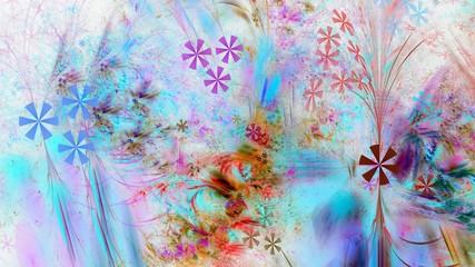 Bunte Grafik mit floralen Elementen auf weißem Grund
