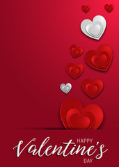 Happy Valentines Day greeting card template with typography text happy valentine`s day. valentines day lettering with valentine heart - Valentine Background.