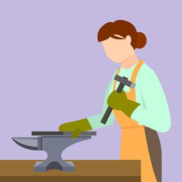 Woman blacksmith icon. Flat illustration of woman blacksmith vector icon for web design