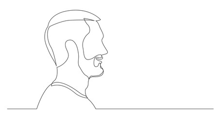 profile portrait of young talking bearded man - continuous line drawing on white background