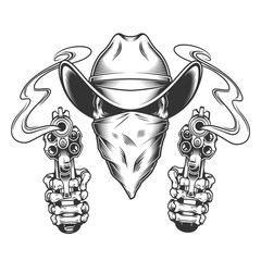 Skull in cowboy hat and scarf