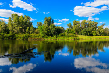 Summer landscape with beautiful river, green trees and blue sky