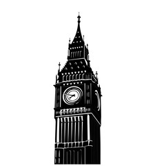 Vector illustration of famous Big Ben tower in London isolated over white background. National symbol. Tourism attraction of capital of Great Britain.