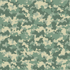 Camouflage Seamless Pattern - Abstract design of camouflage in green colors