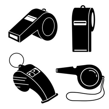 Whistle icon set. Simple set of whistle vector icons for web design on white background