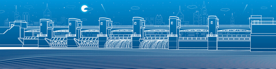 Hydro power plant. River Dam. Energy station. Water power. City infrastructure industrial illustration panorama. White lines on blue background. Vector design art