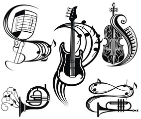 Music icons set - audio, sound and musical equipment. instruments illustrations
