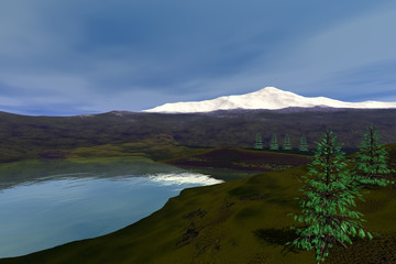 Coniferous trees next to the river, a natural landscape, grass on the ground, a snowy mountain and clouds in the sky.