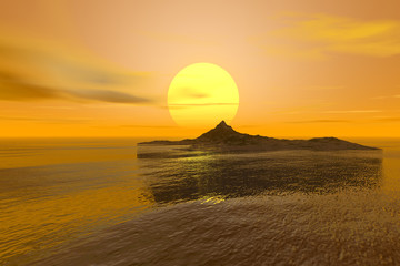 Sunset, a tropical landscape, an island in the ocean, reflection on water and a great sun in the sky.