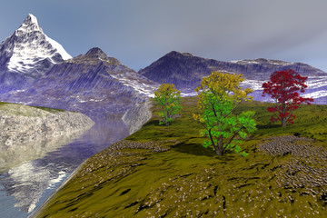 Spring in the river, an alpine landscape, snowy mountain, beautiful trees and clouds in the sky.