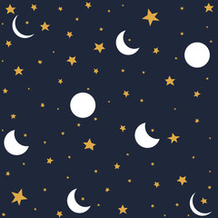 Seamless pattern with moon and stars.