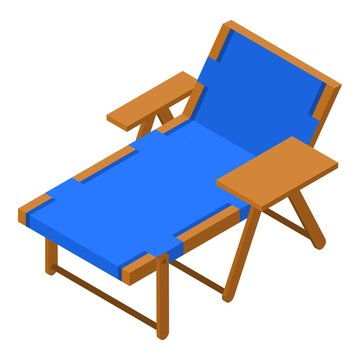 Deck chair icon. Isometric of deck chair vector icon for web design isolated on white background