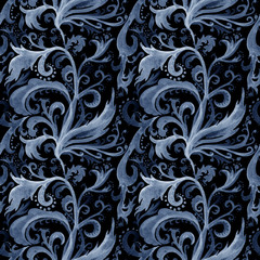 Hand drawn abstract watercolor seamless pattern with gray and blue floral ornament, curls, wavy lines, doodles on a black background
