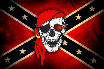 Skull on Confederate flag