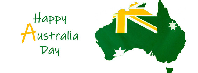 Map of Australia with Australian flag in unofficial green and gold colours, sized to fit a popular social media cover image placeholder, with Happy Australia greeting text.