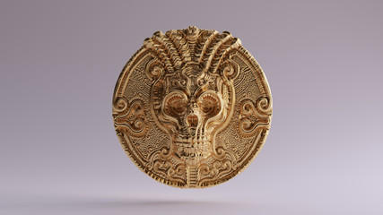 Antique Gold Skull Coin 3d illustration