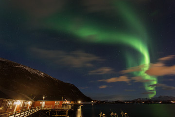 Amazing landscape view with northern lights in background at Lofoten, Norway