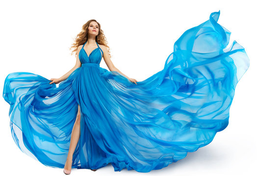 Woman Flying Blue Dress, Fashion Model Dancing in Long Waving Gown, Fluttering Fabric Isolated over White Background