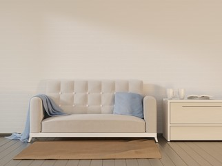 White couch with a pillow and blanket. Home interior design. 3D rendering.