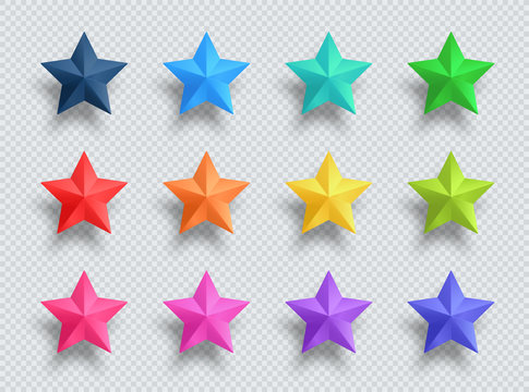 3d Realistic 12 Star Colorful Vector Illustration Elements Set