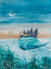 Children book illustration -whale and fox traveling together. Picture made with watercolors.