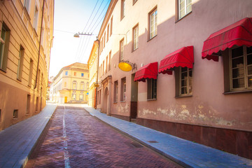 European street in old town in Vilnius on summer day, Lithuania.