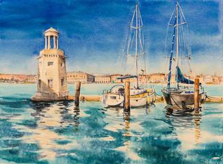 Marina close to St. Giorgio Maggiore Abbey in Venice, Italy. Picture created with watercolors.