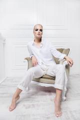 female model on armchair