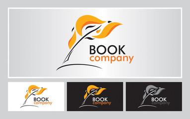 Obraz Logo książka pióro ogień ikona - fototapety do salonu