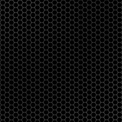 High resolution seamless white geometric hexagon metal pattern on black. Simple abstract background.