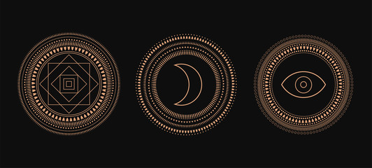 Vector Set of Circle Geometric Ornaments. Geometric alchemy symbol. Abstract occult and mystic signs. Black background. Wall mural