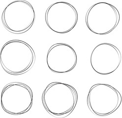 Set of Hand drawn circle frames. Abstract Grunge doodle frames isolated on white background. Abstract Frame .