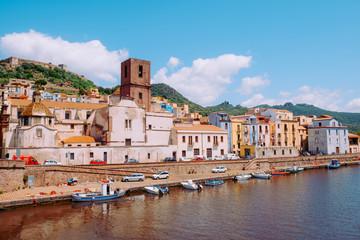 The Temo river bank, Village of Bosa, Sardinia, Italy.