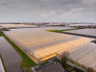 aerial of agricultural greenhouses in the Netherlands