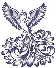 Drawing fantasy peacock