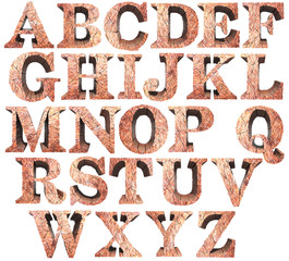 Iron ore stone uppercase letters