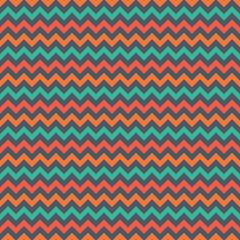 Bright Chevron Seamless Pattern - Blue, red, and orange chevron on gray background