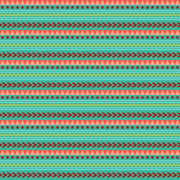 Geometric Tribal Seamless Pattern - Geometric shapes in tribal inspired design on turquoise blue background