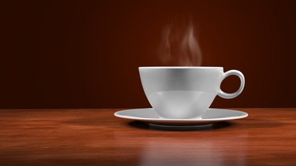 Steaming cup of coffee isolated on brown background. 3d illustration.
