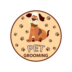 Pet Grooming logo. Vector cartoon style illustration