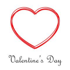 Logotipo abstracto con texto Valentine's Day con corazones lineales en color rojo