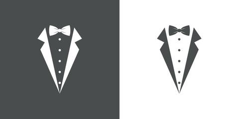 Icono plano con corbata de lazo y solapas de chaqueta en gris y blanco