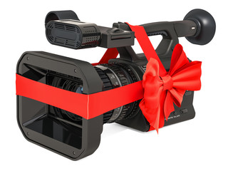 Television camera, professional video camera with bow and ribbon, gift concept. 3D rendering