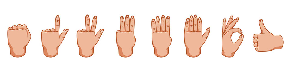 Hand gestures, great design for any purposes. Signs. Gesture line icon. Hand gestures illustration. Human vector gestures. White background. Outer side