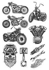 Original motorcycle set of high-quality vector illustrations.