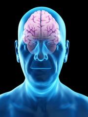 Illustration of an old man's brain